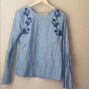 DIzzy Gal Striped Floral Long Sleeve Large